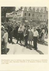 Manifestation pour le maintien des Forges d'Hennebont à VANNES. Au premier plan, Monsieur RAUDE A. et Madame CHENU Yvonne. JUIN 1966.