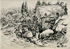 Au milieu des rochers et des blocs erratiques, éparpillés dans la rivière, qu'ils étaient joyeux ces petits moulins ! | Homualk DE LILLE Charles