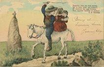 Regardez bien ces trois lurons, Sur le bidet blanc qui s'élance : Ils viennent des pays Bretons, Vous apporter bonheur et chance ! E. de Nassirac. | Jacquier
