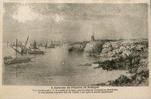 Vers l'an 50 avant J.C., à la sortie de la Loire, près la pointe de Chémoulin ou Chef-Moulin, la flotte romaine, rencontre celle des Vénètes et peu après la détruit complètement. |