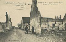 Maisons de la Grande Rue, vers l'Eglise, détruites par le bombardement   Menard L.-