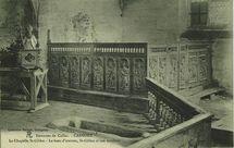 Environs de Callac - La Chapelle St-Gildas - Le banc d'oeuvres, St-Gildas et son tombeau  