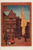 QUIMPER - BRETAGNE - LA CATHEDRALE DE QUIMPER, de pur style gothique, située à l'une des extrémités de la rue Kéreon, remarquable par ses maisons anciennes. | Alo