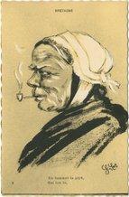 Vieille Bretonne fumant la pipe En fumant la pipe, Gai lon la | Goeau-brissonniere G.