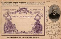 LA PREMIERE CARTE POSTALE française illustrée, créée en 1870 pour les soldats du Camp de Conlie, par LEON BESNARDEAU, libraire à Sillé-le-Guillaume (S