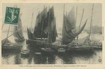 Voiles au séchage dans le Port de Concarneau (Finistère), d'après le tableau de E. BOUILLE | Bouille Etienne