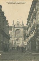 La rue Bonne-Nouvelle et Portail Est de l'Eglise Saint-Aubin  