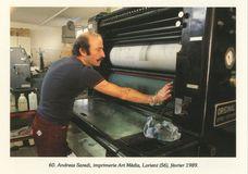 Andreas Saredi, imprimerie Art Média, Lorient (56), février 1989. | Kervinio Yvon