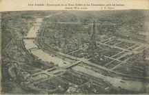 Panorama de la Tour Eiffel et du Trocadéro, pris en ballon |