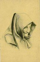 Vieille femme de Douarnenez en coiffe mozer. D'après un crayon de Raphael BINET tiré sur machine &quot   Binet Raphaël