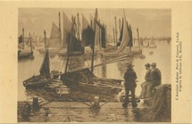 L'Accalmie Ardente, Port de Camaret, Le Soir d'après le tableau d'E. Bouillé | Bouille Etienne