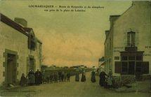 Route de Kerpenhir et du sémaphore vue prise de la place de Labarker  