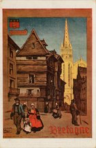 QUIMPER-BRETAGNE. LA CATHEDRALE DE QUIMPER. De pur style gothique, située à l'une des extrémités de la rue Kéreon, remarquable par ses maisons anciennes. | Alo
