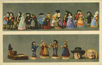 Auvergne.- Noce auvergnate : Cabrettaire, mariés, vieux d'Aurillac, vieux du Puy, couple de Riom, couple de Thiers, promis du Puy-de-Dôme, le poivrot, hauteur 11 cm |